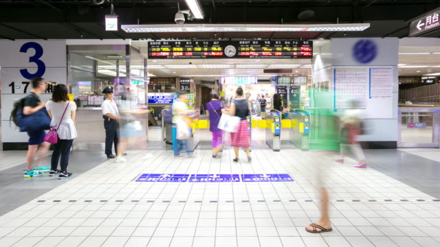 4K Time-Lapse:  Traveler Crowd at Taipei Main Station Taiwan