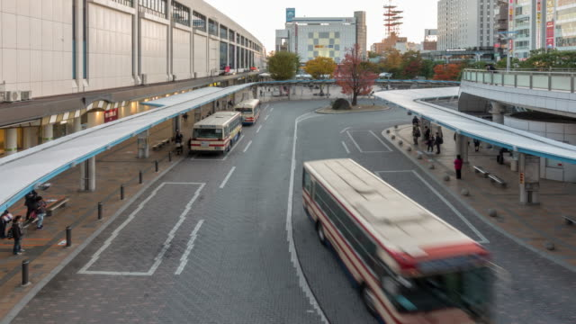 Time-lapse: Traveller crowded at bus station terminal Koriyama Central train station