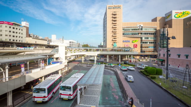 4K Time-lapse: Traveller crowded Toyota bus and train station Nagoya