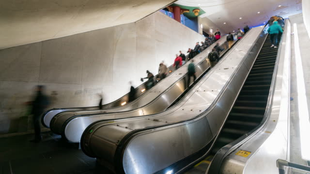 time-lapse: traveller pedestrian crowded at escalator in subway metro station in washington dc usa - public transport stock videos & royalty-free footage