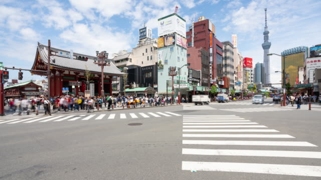 4kタイムラプス:東京・浅草寺周辺の市場に、旅行者の歩行者が押し寄せる。 - 広告点の映像素材/bロール