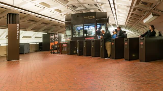 time-lapse: traveller pedestrian crowded at ticket kios gate of subway metro in washington dc usa - public transport stock videos & royalty-free footage