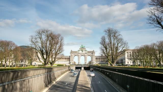 time-lapse: Triumphal Arch Cinquantenaire Parc Brussels Belgium