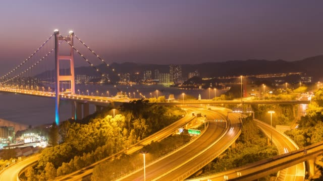 vídeos y material grabado en eventos de stock de 4k timelapse: puente de tsing ma vista hong kong - grulla de papel