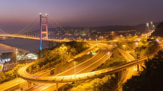 4k timelapse : tsing ma bridge view hong kong - hong kong international airport stock videos and b-roll footage