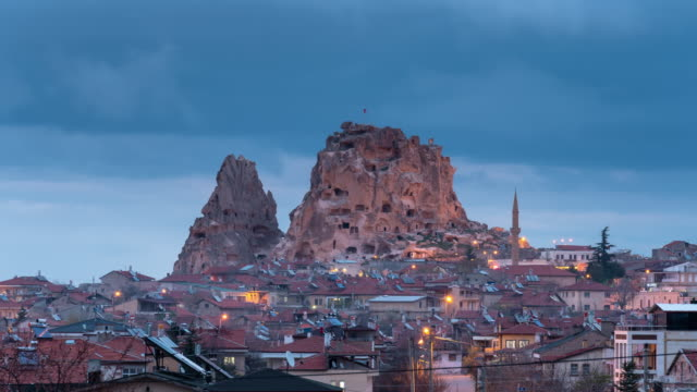time-lapse: uchisar city at night, cappadocia, turkey - social history stock videos & royalty-free footage