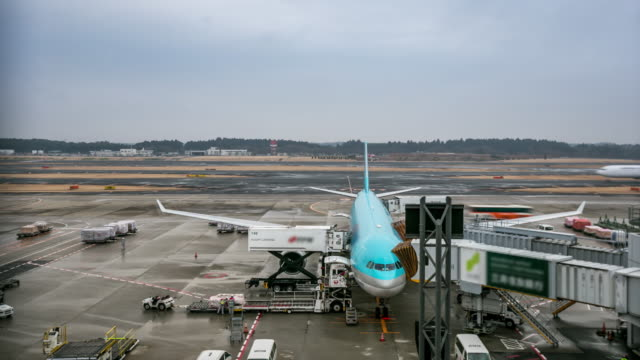 4K Time-lapse: Unloading airplane cargo air freight logistic background