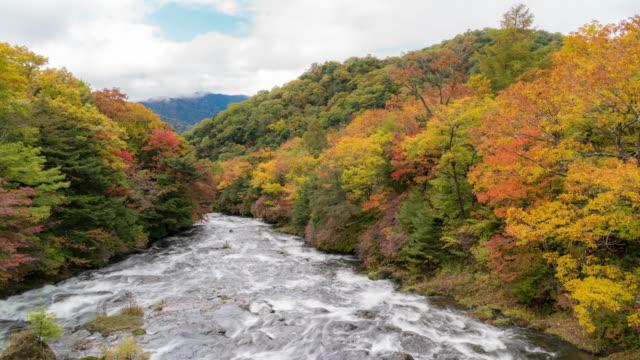 Time-lapse: upper ryuzu falls from Ryuzu Bridge with Lake Chuzenji Nikko Tochigi Japan