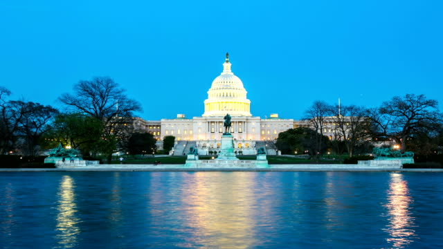 hd time-lapse: us capitol building, washington dc at dusk, usa - government stock videos and b-roll footage