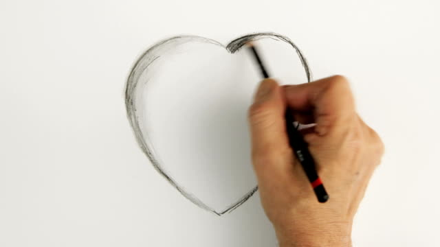 timelapse valentine heart.    co ro - pencil stock videos & royalty-free footage