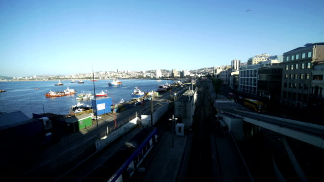 time-lapse : valparaiso port - panoramic stock videos and b-roll footage