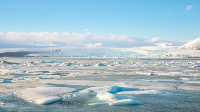 4k time-lapse: vatnajokull glacier jokulsarlon lagoon iceland - icecap stock videos and b-roll footage