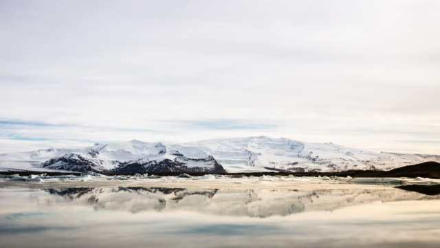 4k time-lapse: vatnajokull glacier jokulsarlon lagoon iceland - lagoon stock videos and b-roll footage
