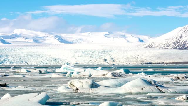 HD time-lapse: Vatnajokull Glacier Jokulsarlon lagoon Icelandic