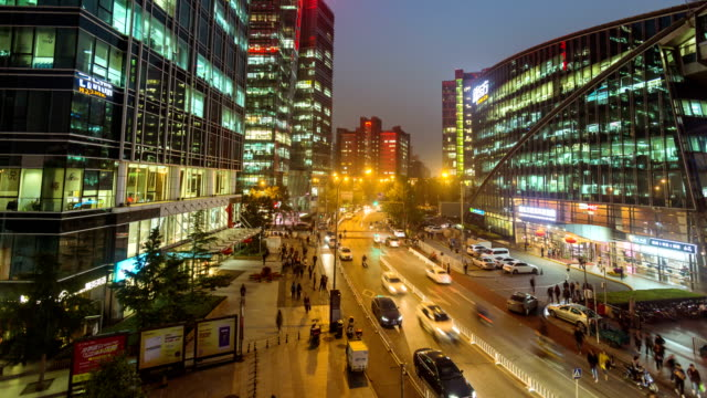 Beijing, China - October 10, 2016: timelapse video of Beijing Zhongguancun business area at night with modern office buildings
