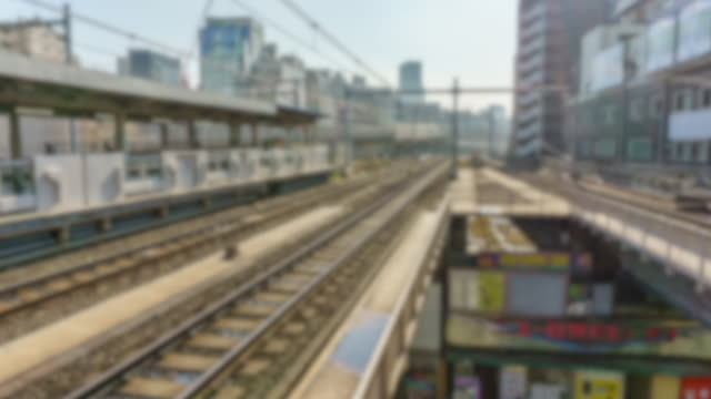 timelapse video of concept blur view in akihabara station platform tokyo , japan - railway station platform stock videos & royalty-free footage