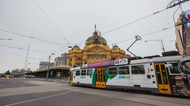 timelapse video of flinders street station - train vehicle stock videos & royalty-free footage