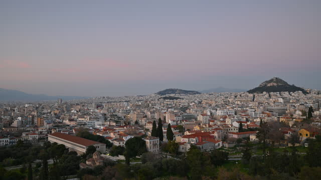 4k timelapse video of sunset over athens, greece - lycabettus hill stock videos & royalty-free footage