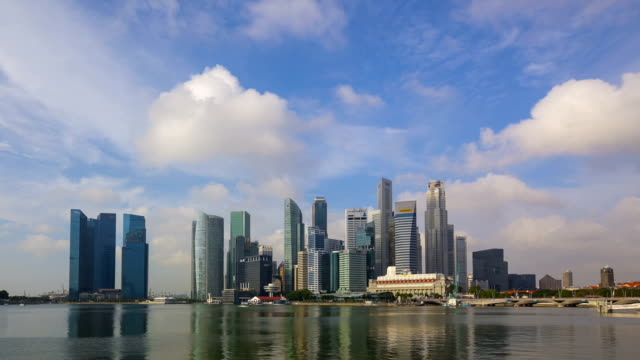 timelapse video singapore central business district waterfront - merlion fictional character stock videos and b-roll footage