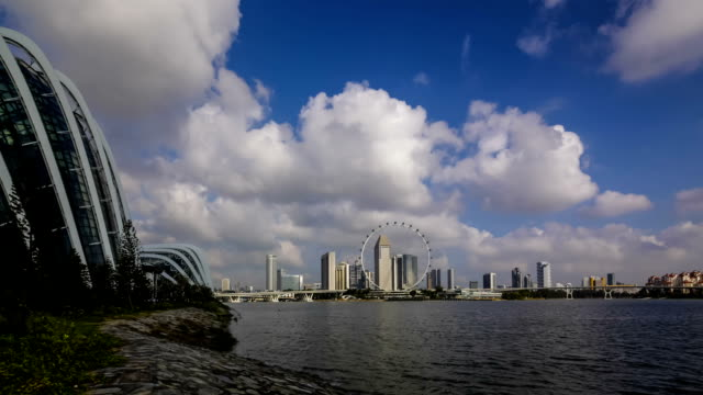 timelapse video singapore skyline - raffles city stock videos & royalty-free footage