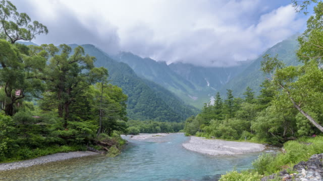 4K Timelapse : View from Kappa-bashi bridge with Azusa river and Hotaka mountain