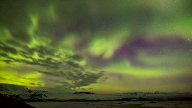Time-Lapse view of Aurora near Kirkjufell mountain in Iceland