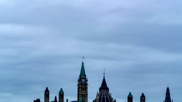 vídeos y material grabado en eventos de stock de vista timelapse del parlamento canadiense, ottawa, canadá - colina del parlamento ottawa