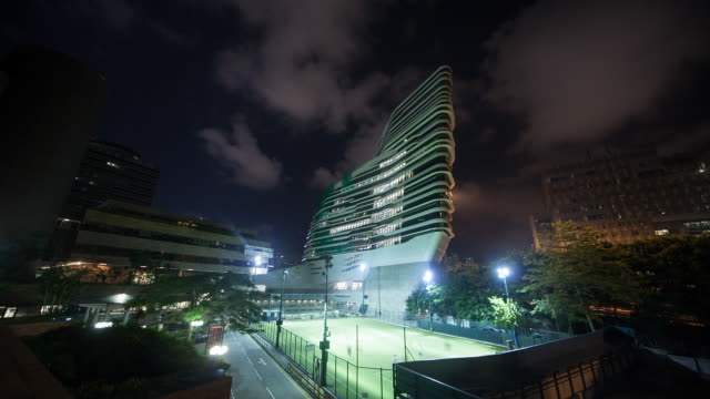 HD timelapse: view of Innovation Tower of Hong Kong Polytechnic University