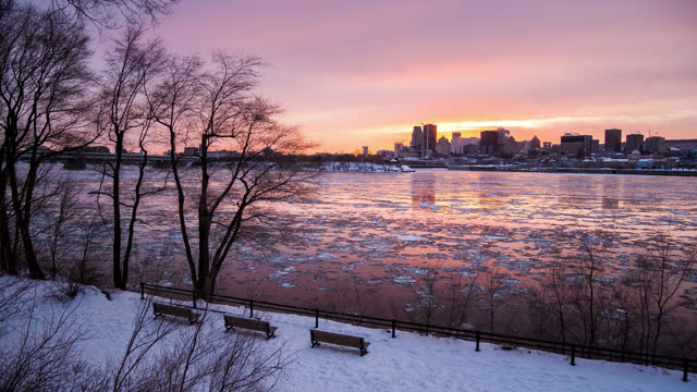 timelapse view of montreal city skyline and river by night in winter - water's edge stock videos & royalty-free footage
