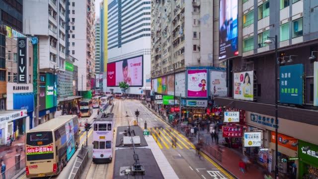 4k timelapse: blick auf die menschen auf den straßen hong kong stadt in causeway bucht in hongkong ist ein wichtiger finanzplatz in der region asien. hongkong-video - high dynamic range imaging stock-videos und b-roll-filmmaterial