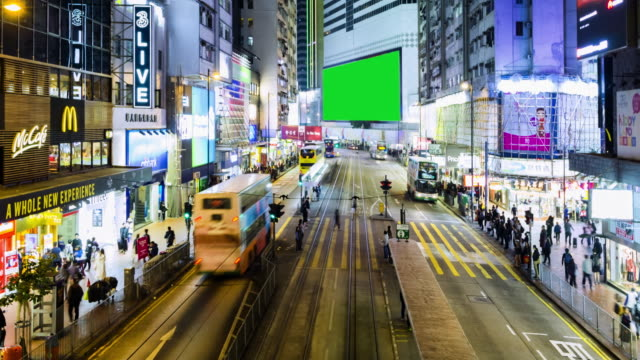 4k timelapse : view of people on the streets hong kong city at causeway bay in hong kong is a major financial hub in the asia region and green scene. - large stock videos & royalty-free footage