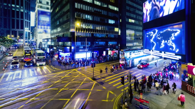 4K Timelapse view of people on the streets Hong Kong city at Causeway bay Hong Kong is a major financial hub in the Asia region.