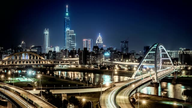 Timelapse view of Taipei financial district at night with Taipei city,