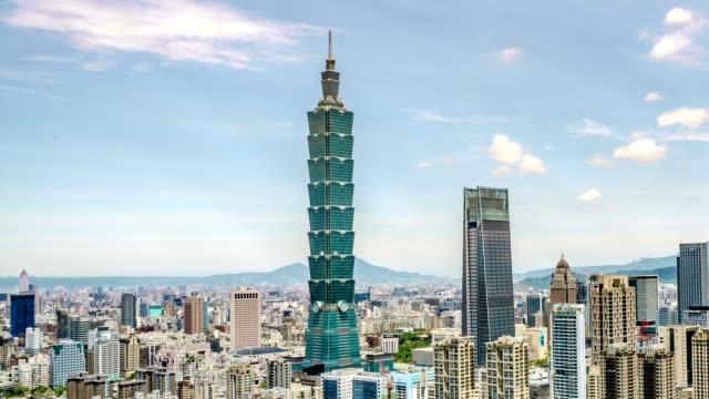 vídeos de stock, filmes e b-roll de timelapse vista do distrito financeiro de taipei em dia ensolarado com a cidade de taipei, - taipé