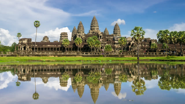 timelapse view of the afternoon light dropping at angkor wat - angkor stock videos and b-roll footage