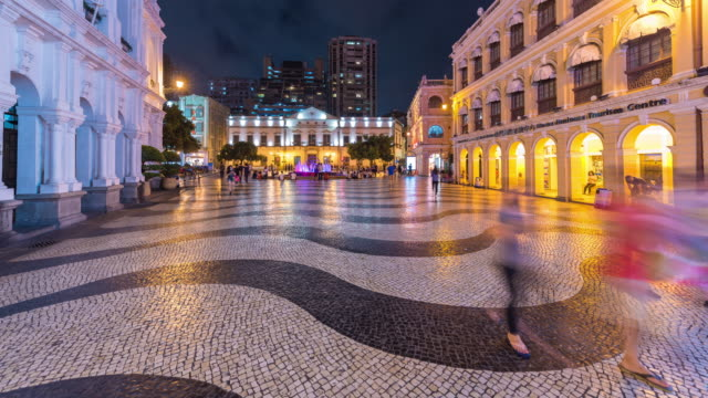 4K Timelapse : view of the historical district of Macau, a former Portugese colonial city and now popular destination for tourism