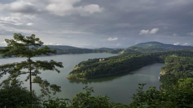 time-lapse view of umiam lake in shillong, meghalaya - lake stock videos & royalty-free footage
