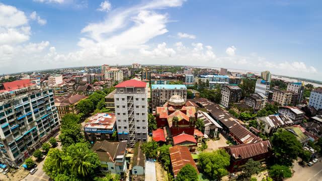 timelapse view of yangon city in myanmar - temple building stock videos & royalty-free footage