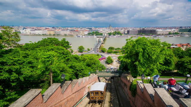timelapse view over budapest hungary - széchenyi chain bridge stock videos & royalty-free footage