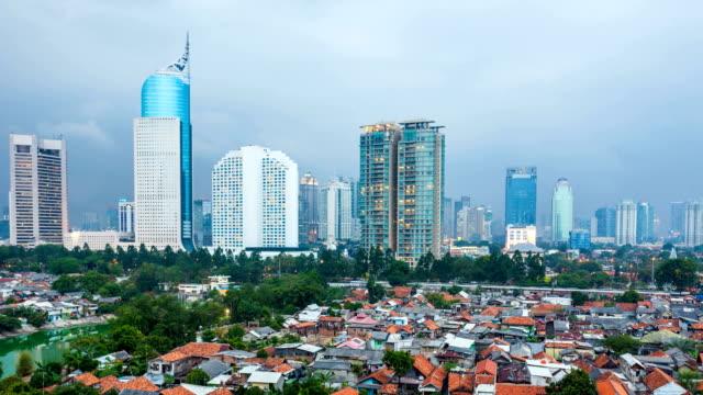 vídeos y material grabado en eventos de stock de timelapse vista de jakarta, la ciudad al atardecer - yakarta