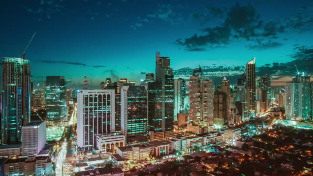 timelapse view over makati skyline, metro manila - philippines - manila philippines stock videos and b-roll footage
