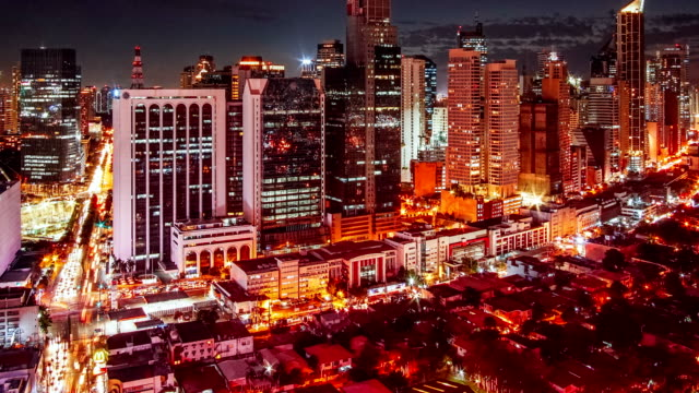 timelapse view over makati skyline, metro manila - philippines - philippines stock videos & royalty-free footage