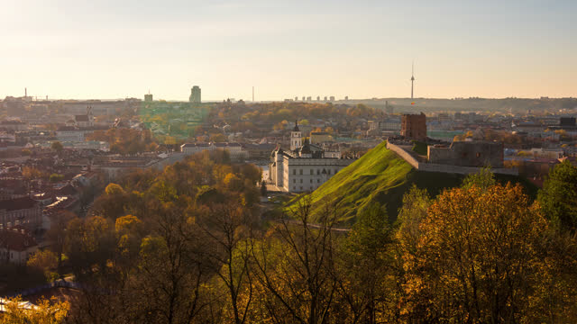 timelapse view over vilnius lithuania - old town stock videos & royalty-free footage