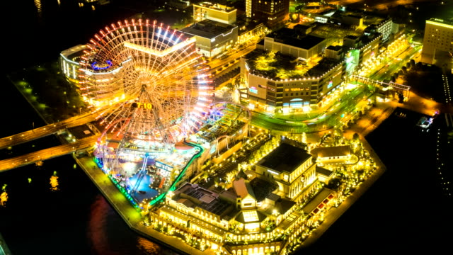 timelapse view over yokohama waterfront, japan - stock video - big wheel stock videos & royalty-free footage