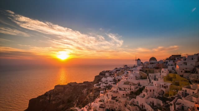 hd timelapse : village oia on santorini island, greece - oia santorini stock videos & royalty-free footage
