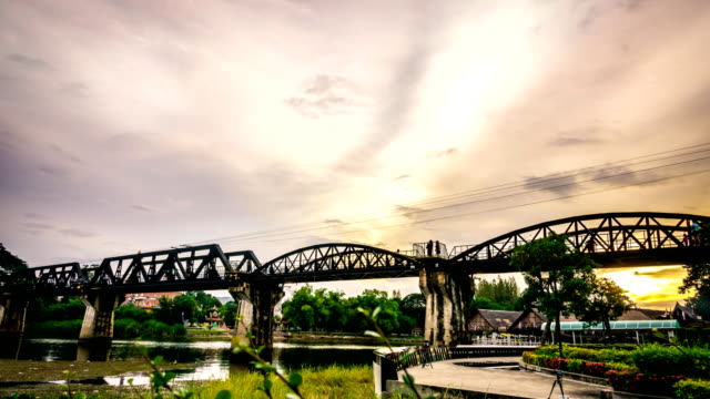 Time-lapse: Vintage the Bridge River Kwai in Thailand.