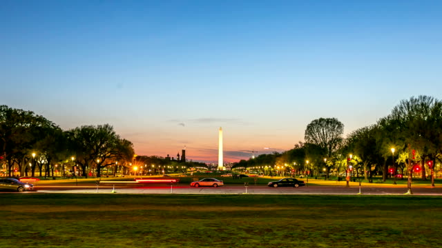 HD Time-lapse: Washington Monument at dusk DC USA
