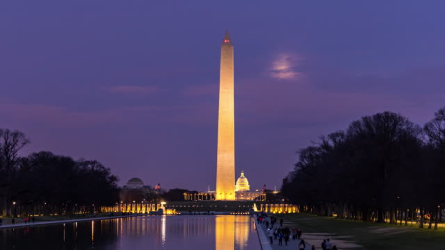 time-lapse: washington monument with reflection pool sunset in washington dc usa - obelisk stock videos & royalty-free footage