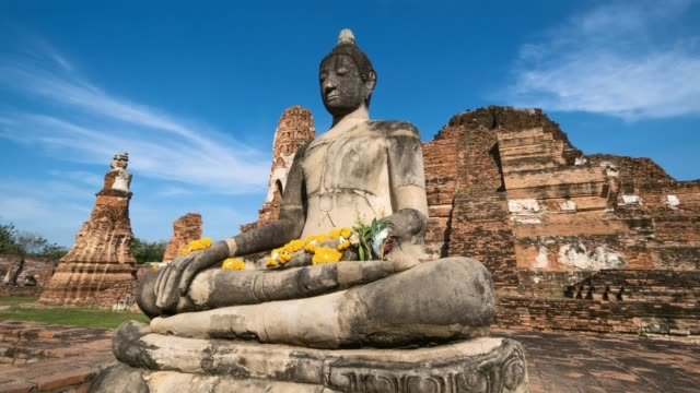 4K Timelapse : Wat Mahathat a landmark old temple in Ayutthaya Province, Thailand. Tilt up shout