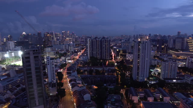 Timelapse wide shot aerial angle night scene of Singapore
